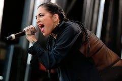 Ο Μαύρος πορσελάνης (αμερικανικός βιομηχανικός λαϊκός τραγουδοποιός, βιαστής, και πρότυπο τραγουδιστών) στο λαϊκό φεστιβάλ Primav Στοκ Εικόνες