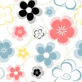 Primavera. Tile with flowers and green swirls Royalty Free Stock Photo