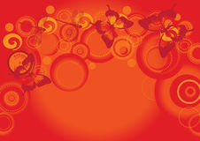 Primavera with butterflys. Primavera spring time with butterflys and stars illustration on orange and red happy holidays background Royalty Free Stock Photo