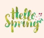 Primavera calligrafica dell'iscrizione ciao con i fiori Immagini Stock Libere da Diritti