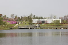 Primavera colorida en el jardín de Shenshan (Wuhu, China) Imagen de archivo