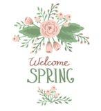 Primavera con gli elementi floreali Immagini Stock Libere da Diritti