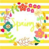 Primavera con la decorazione della corona del fiore Fotografia Stock Libera da Diritti