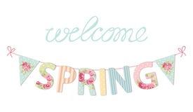 Primavera d'annata sveglia di benvenuto dell'insegna come le lettere e bandiere eleganti misere della stamina illustrazione di stock