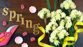 Primavera de arriba con las flores frescas hermosas Imagen de archivo