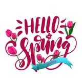 Primavera de la frase hola Letras de la pluma del cepillo Flores rosadas de los tulipanes stock de ilustración