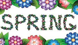 Primavera de la inscripción en un alcance floral Fotografía de archivo libre de regalías