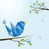 Primavera de la postal y el pájaro stock de ilustración