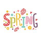Primavera de las letras con los elementos florales decorativos Fotografía de archivo libre de regalías