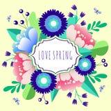 Primavera del AMOR Vector las flores Imagen de archivo libre de regalías