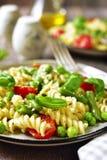 Primavera della pasta sull'piatti d'annata Immagini Stock Libere da Diritti