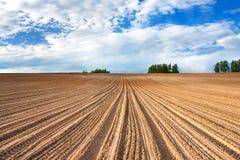 Primavera di paesaggio con il campo arato Fotografie Stock Libere da Diritti
