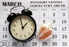 Primavera domenica di andata di risparmio di luce del giorno al 2:00 a M. Immagine Stock