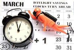 Primavera domingo delantero del horario de verano en el 1:00 a M Imagenes de archivo