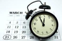 Primavera domingo delantero del horario de verano en el 1:00 a M Fotografía de archivo libre de regalías