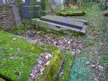 Primavera en cementerio judío abandonado y registrado Fotos de archivo libres de regalías