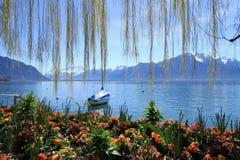 Primavera en el lago geneva, Montreux, Suiza fotografía de archivo libre de regalías