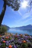 Primavera en el lago geneva, Montreux, Suiza Foto de archivo