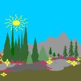 Primavera en las montañas stock de ilustración