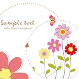 Primavera floral con la tarjeta de felicitación de la mariposa Fotografía de archivo libre de regalías