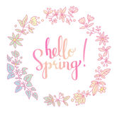 Primavera floreale di parole di vettore dell'iscrizione della mano e della corona ciao Immagini Stock Libere da Diritti