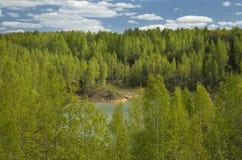 Primavera Forest Around el lago en una mina abandonada Fotografía de archivo
