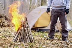 In primavera foresta una tenda con un fuoco a Immagini Stock