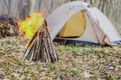 In primavera foresta una tenda con un fuoco a Fotografie Stock Libere da Diritti