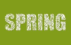 Primavera Fuente decorativa hecha de remolinos y de elementos florales en un fondo verde Fotografía de archivo libre de regalías