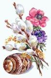 Primavera, gatito-sauce floreciente, acuarela del huevo Foto de archivo libre de regalías