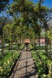 Primavera in giardino convenzionale con il pergola Immagini Stock Libere da Diritti