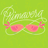 Primavera. Hand lettered Spring in spanish with two birds. Vector Illustration Royalty Free Stock Photo