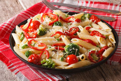 Primavera Italian pasta with vegetables close-up Stock Photo