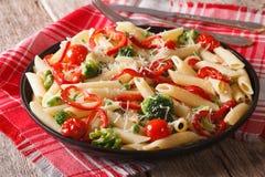 Primavera Italian pasta with vegetables close-up Stock Photo
