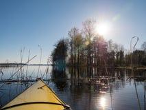 Primavera kayaking hacia árboles soleados Fotos de archivo