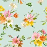 Primavera Lily Flowers Background - estampado de flores inconsútil Fotografía de archivo