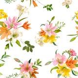 Primavera Lily Flowers Background - estampado de flores inconsútil Imagen de archivo