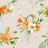 Primavera Lily Flowers Background - estampado de flores inconsútil Fotos de archivo