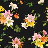 Primavera Lily Flowers Background - estampado de flores inconsútil Foto de archivo