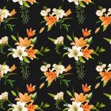 Primavera Lily Flowers Background - estampado de flores inconsútil Fotografía de archivo libre de regalías