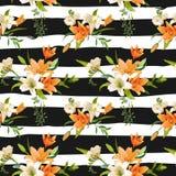 Primavera Lily Flowers Background - estampado de flores inconsútil Imagen de archivo libre de regalías