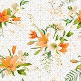 Primavera Lily Flowers Background - estampado de flores inconsútil Imágenes de archivo libres de regalías