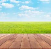 Primavera o estate con il fondo del giacimento del riso e la tavola di legno Fotografie Stock