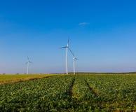Primavera o paesaggio autunnale con i mulini a vento sui campi Fotografie Stock