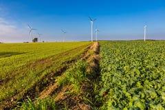 Primavera o paesaggio autunnale con i mulini a vento sui campi Fotografie Stock Libere da Diritti
