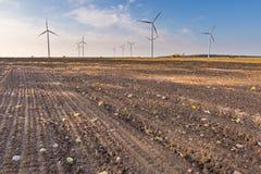 Primavera o paisaje otoñal con los molinoes de viento en campos Foto de archivo