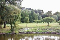Primavera pacífica a lo largo de un lago delaware Imagen de archivo