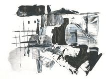 Primavera, paisaje rural, derretimientos de la nieve, dibujando con el acrílico y la pluma, abstracción Imagenes de archivo