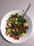 Primavera penne - pasta med färgrika grönsaker Arkivfoton