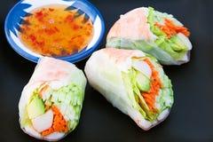 Primavera Rolls dei sushi Fotografia Stock